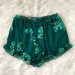 Altar'd state green floral ruffle elastic shorts